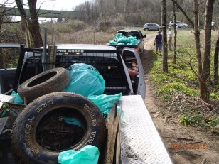 Caravan of trash hauled out of the West Fork River, WV. Credit_ N. Millett, FWS