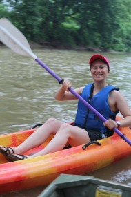 Local resident, Brianna Snyderis all smiles on the West Fork. Credit_ Haley Hutchins, AmeriCorps