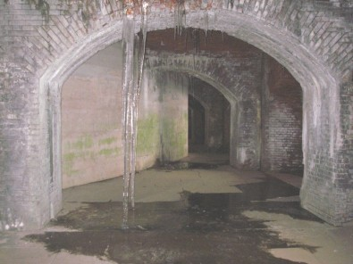 When water is constantly dripping, icicles form in the tunnels during the winter. Good thing ghosts don't get cold. Credit: DE Division of Fish & Wildlife